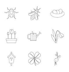 Garden icons set outline style vector