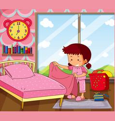 Girl making bed in pink bedroom vector