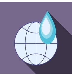 Globe and water drop icon flat style vector image vector image