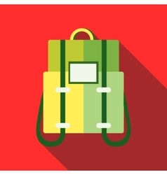 Green backpack icon in flat style vector image