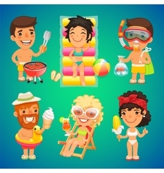 Happy Cartoon Characters on the Beach vector image vector image