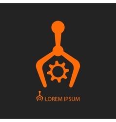 Industry with robots orange logo vector