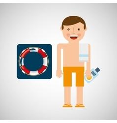 man shorts towel beach vacations lifebuoy vector image