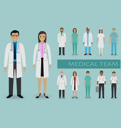Medical team doctors and nurses standing vector
