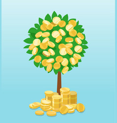 Money tree with coins growing vector