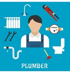 Plumber with tools and equipment flat icons vector