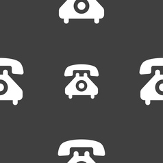 retro telephone handset icon sign Seamless pattern vector image vector image