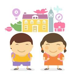 Schoolchildren travel vector image vector image