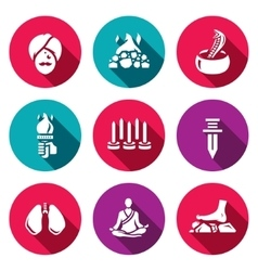 Set of indian yoga icons yogi burning vector