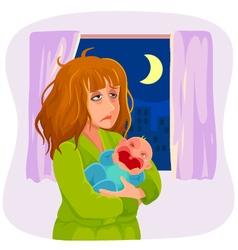 sleepy mother vector image vector image