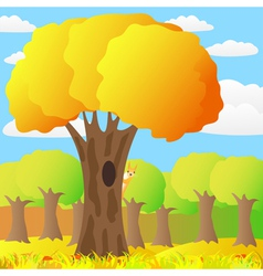 squirrel on a tree in autumn forest vector image