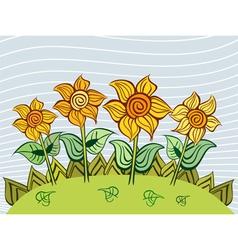 Sunflowers garden vector image