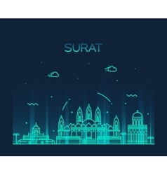 Surat skyline linear style vector