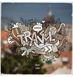 Travel hand lettering and doodles elements vector