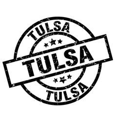 tulsa black round grunge stamp vector image vector image