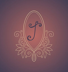 Vintage Template with Ornate Monogram vector image vector image