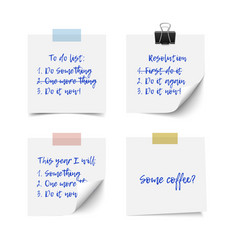 white realistic sticky notes vector image vector image
