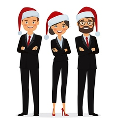 Business people dressed in christmas hats vector