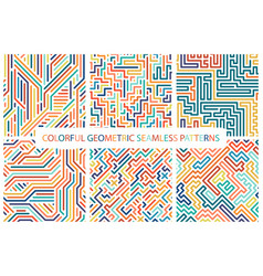 Collection of colorful seamless geometric patterns vector