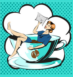 Business woman in cup of coffee reading document vector
