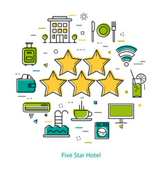 Five-star hotel - line concept vector
