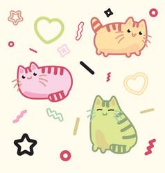 Kawaii style cat kitten kitty pet on vector