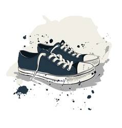 Drawing with sneakers vector