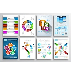 Set of brochure designs infographic backgrounds vector