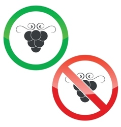 Grape permission signs set vector
