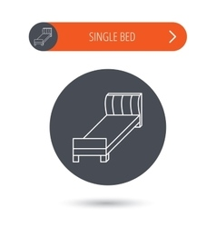 Single bed icon bedroom furniture sign vector