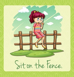 Saying sit on the fence vector