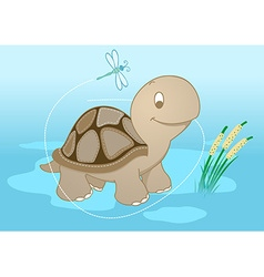 Turtle in pond vector