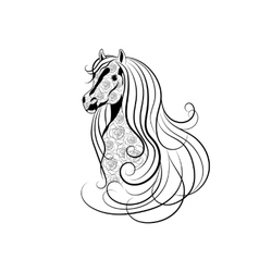 Horse head decorated with vector