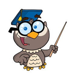 Professor Owl Holding A Pointer Stick vector image