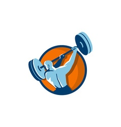 Weightlifter swinging barbell back view circle vector