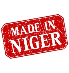 Made in niger red square grunge stamp vector