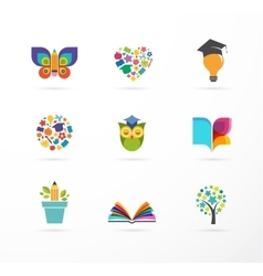 Education icons elements set vector