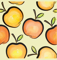 Apple watercolor seamless pattern juicy fruits vector