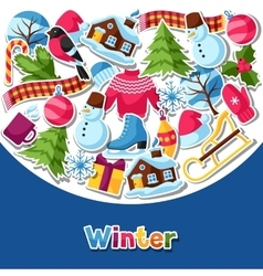 Background with winter stickers merry christmas vector