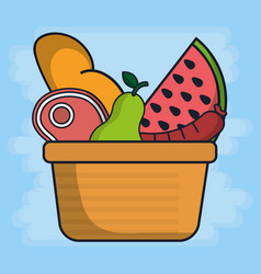 Basket with fruits and food icon vector