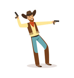 Bearded cowboy holding his guns western cartoon vector