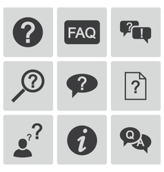 Black faq icons set vector