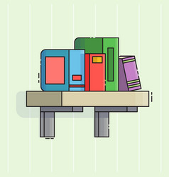 bookshelf icon flat line style vector image vector image