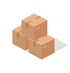 cargo paper boxes isolated on white isometric 3d vector image