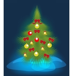 Christmas tree on a blue background EPS10 vector image vector image