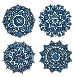 Circular patterns with blue openwork ornament vector