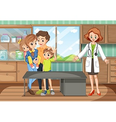 Clinic scene with doctor and family vector