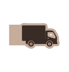 Color emblem with silhouette transport truck vector