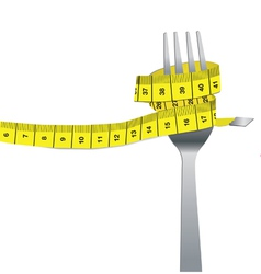 Color set of fork and measuring tape for a healthy vector