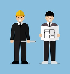 Engineer and architect flat cartoon vector